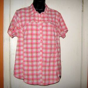 Dickies Perfomance Stretch Large Pink Plaid Blouse